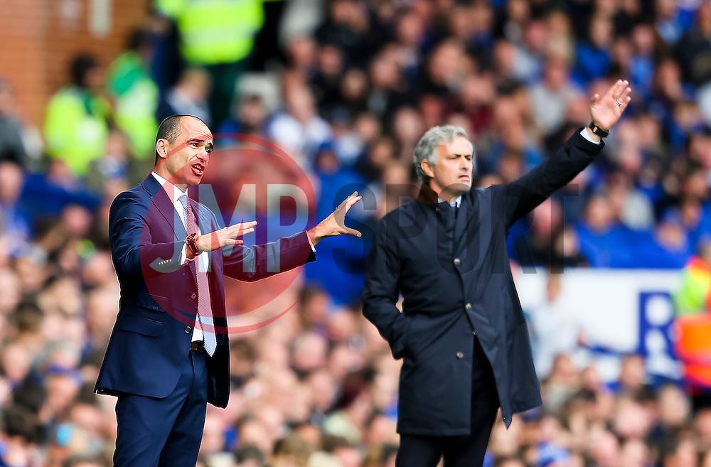 Everton Manager, Roberto Martinez and Chelsea Manager, Jose Mourinho shout instructions to their players - Mandatory byline: Matt McNulty/JMP - 07966386802 - 12/09/2015 - FOOTBALL - Goodison Park -Everton,England - Everton v Chelsea - Barclays Premier League