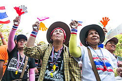 © Licensed to London News Pictures. 16/01/2014. Anti-Government protestors cheer at a rally during the fourth day of the 'Bangkok Shutdown' as anti-government protesters continue with their 'shutdown' of Bangkok.  Major intersections in the heart of the city have been blocked in their campaign to oust Prime Minister Yingluck Shinawatra and her government in Bangkok, Thailand. Photo credit : Asanka Brendon Ratnayake/LNP