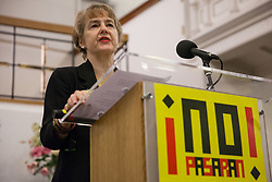 London, UK. 2nd March, 2019. Kate Hudson of Transform journal and General Secretary of the Campaign for Nuclear Disarmament (CND) addresses the ¡No Pasaran! Confronting the Rise of the Far-Right conference at Bloomsbury Central.
