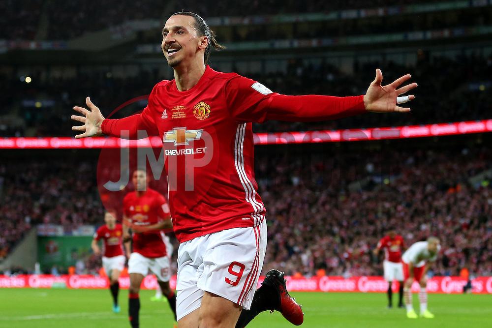 Zlatan Ibrahimovic of Manchester United celebrates after scoring his sides third goal  - Mandatory by-line: Matt McNulty/JMP - 26/02/2017 - FOOTBALL - Wembley Stadium - London, England - Manchester United v Southampton - EFL Cup Final