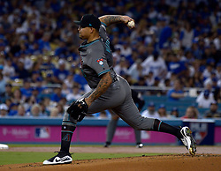 October 6, 2017 - Los Angeles, California, U.S. - Arizona Diamondbacks starting pitcher Taijuan Walker throws to the plate against the Los Angeles Dodgers in the first inning of a National League Divisional Series baseball game at Dodger Stadium on Friday, Oct. 06, 2017 in Los Angeles. (Photo by Keith Birmingham, Pasadena Star-News/SCNG) (Credit Image: © San Gabriel Valley Tribune via ZUMA Wire)