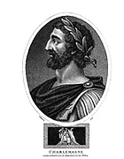 Charlemagne (Charles the Great; 2 April 748 – 28 January 814), numbered Charles I, was King of the Franks from 768, King of the Lombards from 774, and Emperor of the Romans from 800. During the Early Middle Ages, he united the majority of western and central Europe. Copperplate engraving From the Encyclopaedia Londinensis or, Universal dictionary of arts, sciences, and literature; Volume VII;  Edited by Wilkes, John. Published in London in 1810