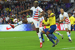 March 21, 2019 - Orlando, Florida, USA - US forward Gyasi Zardes (9) and Ecuador midfielder Antonio Valencia (16) go for a ball during an international friendly between the US and Ecuador at Orlando City Stadium on March 21, 2019 in Orlando, Florida. .The US won the game 1-0...©2019 Scott A. Miller. (Credit Image: © Scott A. Miller/ZUMA Wire)