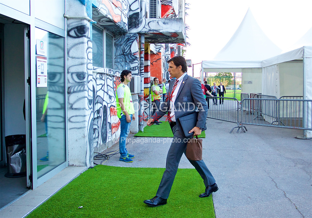 BELGRADE, SERBIA - Sunday, June 11, 2017: Wales manager Chris Coleman arrives before the 2018 FIFA World Cup Qualifying Group D match between Wales and Serbia at the Red Star Stadium. (Pic by David Rawcliffe/Propaganda)