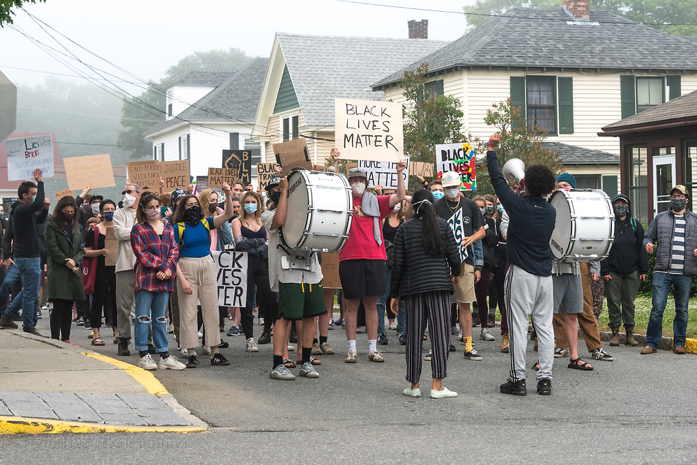 Bar Harbor, Maine, USA. 21 June, 2020. Students at Mount Desert Island High School organized a third MDI March and Rally In Solidarity with Black Lives Matter.