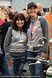 Land Speed record holder and Cannonball rider Jody Perewitz with her mom Susan at Big Moose Harley-Davidson for the start of the Motorcycle Cannonball coast to coast vintage run. Stage-1 (145-miles) from Portland, Maine to Keene, NH. Saturday September 8, 2018. Photography ©2018 Michael Lichter.