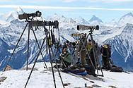 Wildlife photographers, Leukerbad, Valais, Switzerland