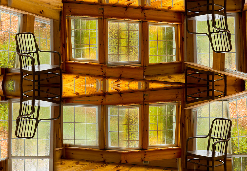"""""""Vertigo"""", derivative image created from a photo of a wooden chair, sun room during a rain storm, October, private vacation house, Cheshire County, New Hampshire, USA"""