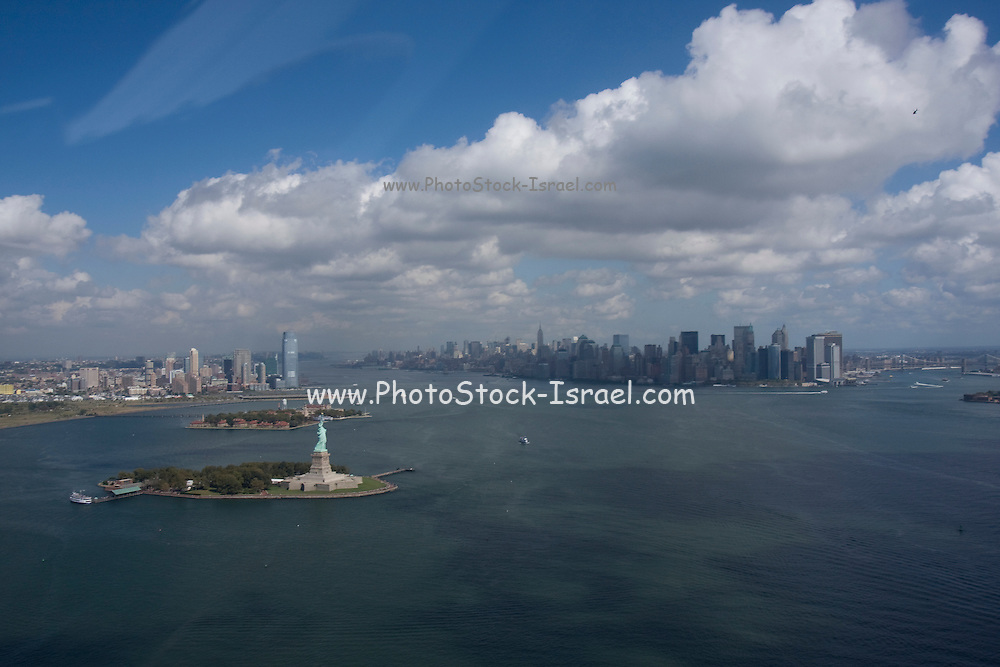 USA, NY, New York City, Aerial view of Manhattan and the Statue of Liberty