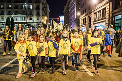 November 12, 2016 - Barcelona, Catalonia, Spain - Students shout slogans as they march through Barcelona to protest the current Catalan education budget of 2.4% GDP and demand a raise to 6% of GDP to comply fully with Catalan Education Law. (Credit Image: © Matthias Oesterle via ZUMA Wire)