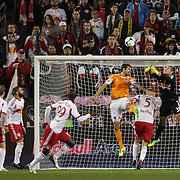 Goalkeeper Luis Robles punches clear during the New York Red Bulls V Houston Dynamo , Major League Soccer second leg of the Eastern Conference Semifinals match at Red Bull Arena, Harrison, New Jersey. USA. 6th November 2013. Photo Tim Clayton