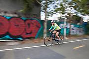 Graffiti next to bicycle path along Los Angeles River, Elysian Valley, Los Angeles, California, USA