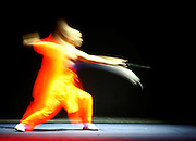 A Shaolin Kung Fu monk performs during a technical rehearsal for their show at the Mediterranean Conference Centre in Valletta May 16, 2008. The monks illustrated Kung Fu combined with Tai-chi exercises in their art program.  Picture taken with a long exposure..REUTERS/Darrin Zammit Lupi (MALTA).MALTA OUT