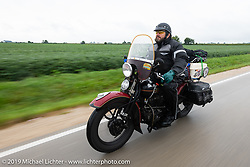 Jim Gilfoyle riding Midge, his Class III 1938 Harley-Davidson El Knucklehead in the Cross Country Chase motorcycle endurance run from Sault Sainte Marie, MI to Key West, FL (for vintage bikes from 1930-1948). Stage 3 from Milwaukee, WI to Urbana, IL. USA. Sunday, September 8, 2019. Photography ©2019 Michael Lichter.