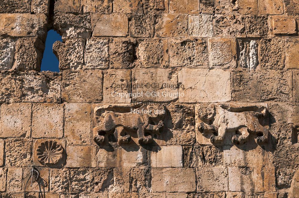Israël, Jérusalem, détail sculpté sur la Porte du Lion à l'entrée de la vieille ville et du quartier Arabe // Israel, Jerusalem, carving stone detail under the Lion Door at the entrance of the old city and the arabic quarter