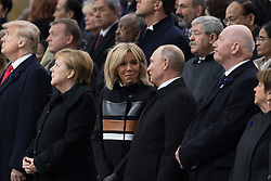 U.S. President Donald Trump, German Chancellor Angela Merkel, Emmanuel Macron and Brigitte Macron, Russian President Vladimir Putin and Australian Governor-General Peter Cosgrove.<br /> French President Emmanuel Macron and Brigitte Macron, German Chancellor Angela Merkel, U.S. President Donald Trump, first lady Melania Trump, Morocco's King Mohammed VI, Russian President Vladimir Putin, Australian Governor-General Peter Cosgrove attend a commemoration ceremony for Armistice Day, 100 years after the end of the First World War at the Arc de Triomphe.<br /> Paris,FRANCE-11/11/2018 Photo by Jacques Witt/pool/ABACAPRESS.COM