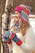 Girl with Hat and Mittens in Winter
