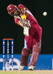© Licensed to London News Pictures. 05/10/2012. Dwayne Bravo batting during the World T20 Cricket Mens Semi Final match between Australia Vs West Indies at the R Premadasa International Cricket Stadium, Colombo. Photo credit : Asanka Brendon Ratnayake/LNP