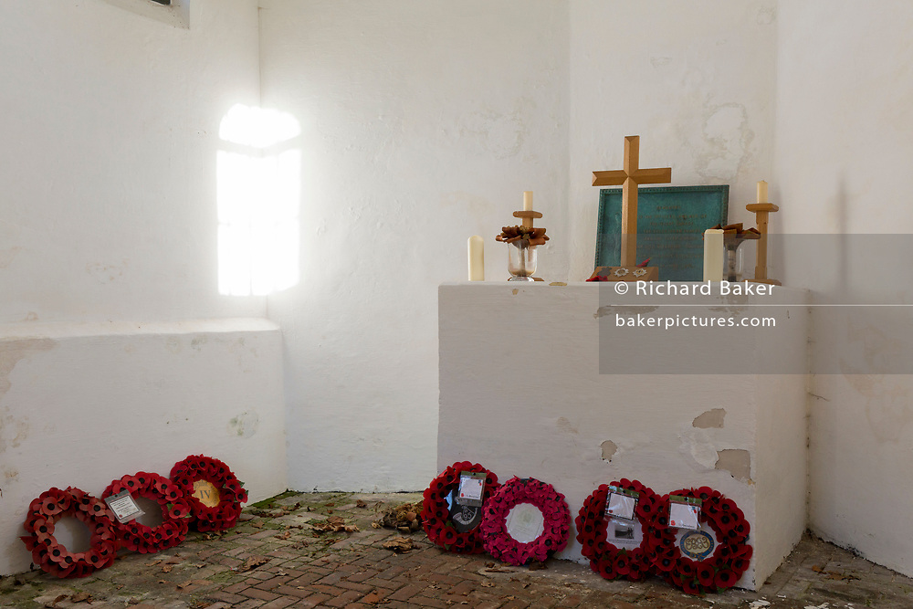 Interior of the Chapel at the strategically-important Hougoumont Farm during the Battle of Waterloo, on 25th March 2017, at Waterloo, Belgium. The farm became an epicentre of fighting in the Battle as it was one of the first places where British and other allied forces faced Napoleon's Army. 12,000 allied troops defending 14,000 French. The Battle of Waterloo was fought on 18 June 1815. A French army under Napoleon Bonaparte was defeated by two of the armies of the Seventh Coalition: an Anglo-led Allied army under the command of the Duke of Wellington, and a Prussian army under the command of Gebhard Leberecht von Blücher, resulting in 41,000 casualties. The Battle of Waterloo was fought on 18 June 1815. A French army under Napoleon Bonaparte was defeated by two of the armies of the Seventh Coalition: an Anglo-led Allied army under the command of the Duke of Wellington, and a Prussian army under the command of Gebhard Leberecht von Blücher, resulting in 41,000 casualties.