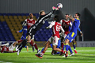 Arsenal midfielder Miguel Azeez (66) watches Arsenal goalkeeper Karl Hein (44) punching the ball during the EFL Trophy match between AFC Wimbledon and U21 Arsenal at Plough Lane, London, United Kingdom on 8 December 2020.