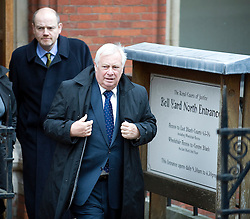 © Licensed to London News Pictures. 23/01/2012. London, UK. L to R Mark Thompson, director general of the BBC and Lord Patten, BBC Trust chairman, leaving the Royal Courts of Justice on January 23rd, 2012, where they both gave evidence at the Leveson Inquiry in to press standards. Photo credit : Ben Cawthra/LNP