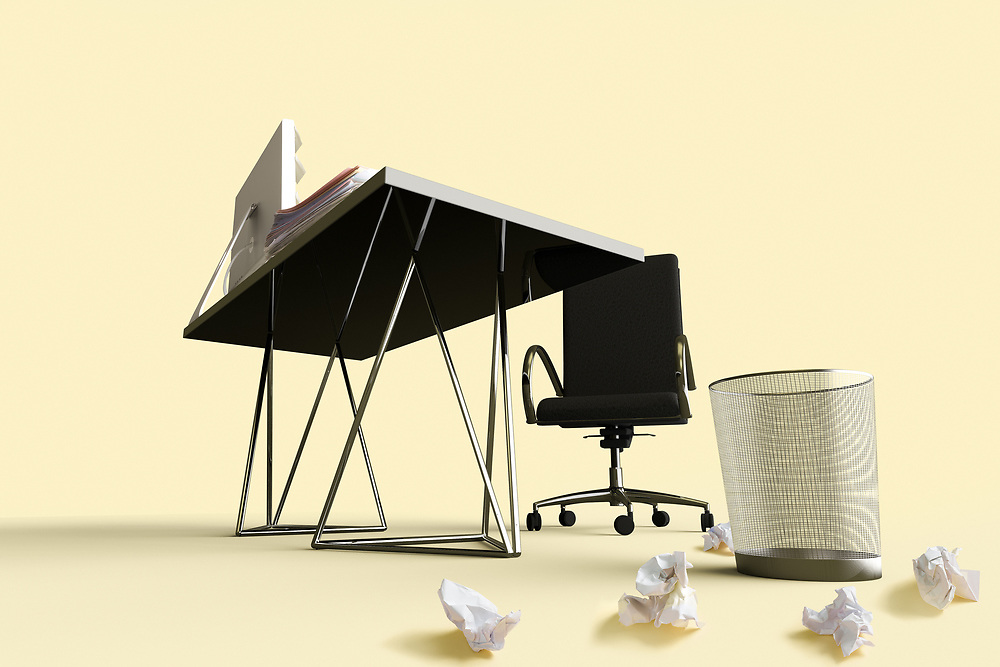 3D rendering of a office desk, chair and waste basket with crumpled papers outside.