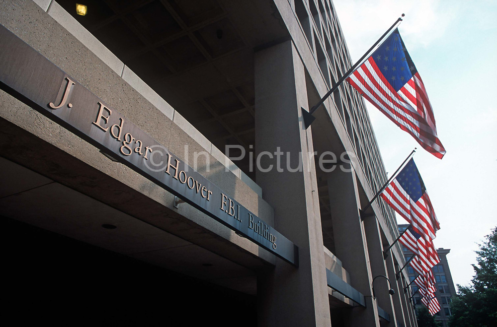 Days after the 9-11 terrorist attacks on the Twin Towers and the Pentagon, an exterior of the J. Edgar Hoover FBI Building, at 935 Pennsylvania Avenue, on 18th September 2001, Washington DC, USA.