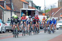One lap to go for the leaders at Omloop van Borsele 2016. A 139 km road race starting and finishing in 's-Heerenhoek, Netherlands on 23rd April 2016.