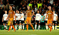 Michael Dawson of Hull City and his teammates cut dejected figures after Bradley Johnson of Derby County scores a goal to make it 5-0 - Mandatory by-line: Robbie Stephenson/JMP - 08/09/2017 - FOOTBALL - Pride Park Stadium - Derby, England - Derby County v Hull City - Sky Bet Championship