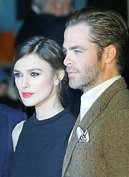 © Licensed to London News Pictures. 20/01/2014, UK. Keira Knightley; Chris Pine, Jack Ryan: Shadow Recruit - European Film Premiere, Vue West End, Leicester Square, London UK, 20 January 2014. Photo credit : Richard Goldschmidt/Piqtured/LNP