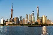 Shanghai Bund area facing hi-tech city, China