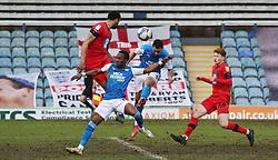 Jonson Clarke-Harris of Peterborough United heads in the equalising goal against Wigan Athletic - Mandatory by-line: Joe Dent/JMP - 27/02/2021 - FOOTBALL - Weston Homes Stadium - Peterborough, England - Peterborough United v Wigan Athletic - Sky Bet League One
