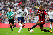 Dele All of Tottenham Hotspur has a shot at goal blocked by Steve Cook of AFC Bournemouth.  Premier league match, Tottenham Hotspur v AFC Bournemouth at Wembley Stadium in London on Saturday 14th October 2017.<br /> pic by Kieran Clarke, Andrew Orchard sports photography.