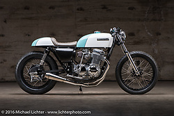Justin Webster's custom Honda CB-450 Cafe Racer at the Handbuilt Show. Austin, TX, USA. April 8, 2016.  Photography ©2016 Michael Lichter.