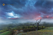 Breaking storm at sunrise above the South Fork of the Two Medicine River in the Lewis and Clark National Forest, Montana, USA