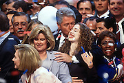President Bill Clinton celebrates with daughter Chelsea after his acceptance speech the Democratic National Convention August 29, 1996 in Chicago, IL.