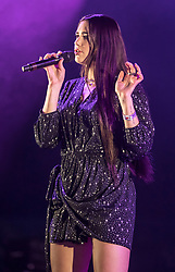 Dua Lipa performs during a collaboration with Mura Masa during the second day of BBC Radio 1's Big Weekend at Burton Constable Hall, Burton Constable, Skirlaugh in Hull.
