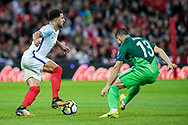 England (2) Kyle Walker, Slovenia (13)Bojan Jokić during the FIFA World Cup Qualifier match between England and Slovenia at Wembley Stadium, London, England on 5 October 2017. Photo by Sebastian Frej.