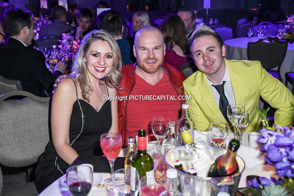 Larissa Eddie, Philip Baldwin and John Galea attend The Music Producers Guild Awards at Grosvenor House, Park Lane, on 27th February 2020, London, UK.
