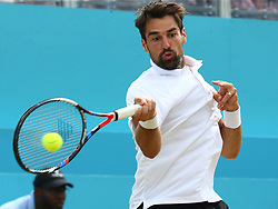 June 23, 2018 - London, England, United Kingdom - Jeremy Chardy (FRA) in action..during Fever-Tree Championships  Semi Final match between Jeremy Chardy (FRA) against Novak Djokovic (SEB) at The Queen's Club, London, on 23 June 2018  (Credit Image: © Kieran Galvin/NurPhoto via ZUMA Press)