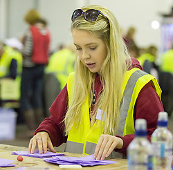 Scottish Parliament Election 2016 Royal Highland Centre Ingliston Edinburgh 05 May 2016; the postal ballot boxes are opened and counting begins during the Scottish Parliament Election 2016, Royal Highland Centre, Ingliston Edinburgh.<br /> <br /> (c) Chris McCluskie | Edinburgh Elite media