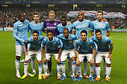 02.10.2013 Manchester, England.  The Manchester City Starting Line Up prior to the Group D UEFA Champions League game between, Manchester City and Bayern Munich from the Etihad Stadium.
