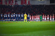 Both sets of players hold a minute applause in honour of Gordon Banks during the EFL Sky Bet League 1 match between Doncaster Rovers and Southend United at the Keepmoat Stadium, Doncaster, England on 12 February 2019.