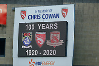 Football - 2020 / 2021 Emirates FA Cup - Round Two: Morecambe vs. Solihull Moors<br /> <br /> General view of the scoreboard, at the Mazuma Stadium.<br /> <br /> COLORSPORT/ALAN MARTIN