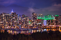 Vancouver Skyline featuring BC Place (illuminated in green)