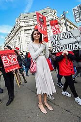 © Licensed to London News Pictures. 09/03/2019. LONDON, UK.  Hundreds of women carrying signs and placards take part in the annual Million Women Rise march and rally, walking from Oxford Street to Trafalgar Square to protest against male violence towards women.  Photo credit: Stephen Chung/LNP