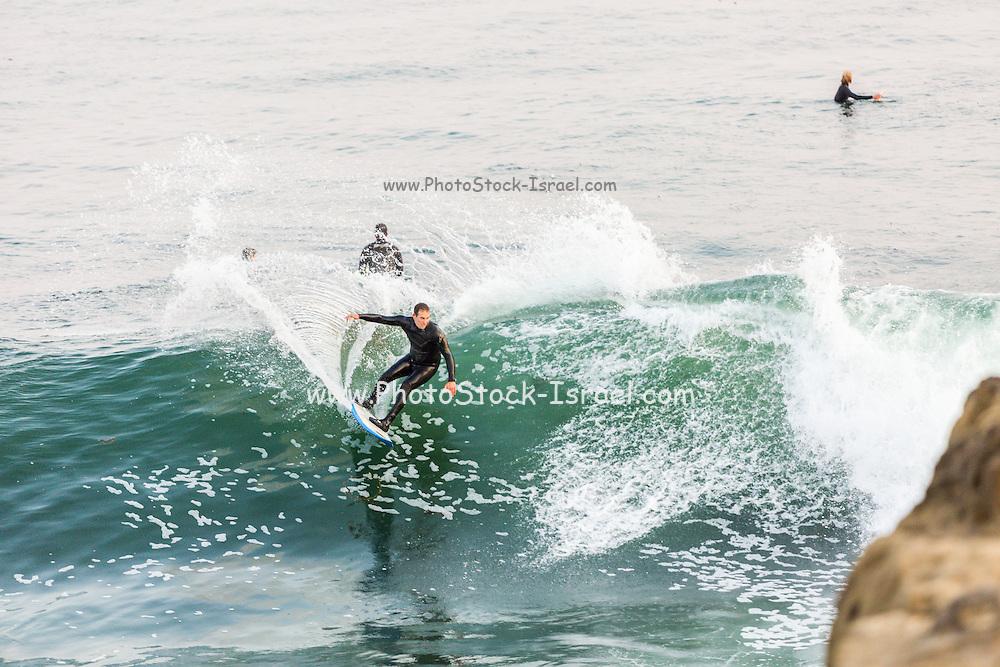 Surfing at Steamer Lane, Santa Cruz, California.