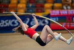 Fleur van der Linden in action on the pole vault during AA Drink Dutch Athletics Championship Indoor on 21 February 2021 in Apeldoorn.