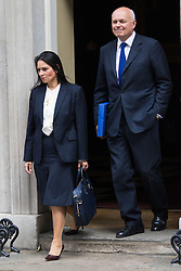 Downing Street, London, May 12th 2015. The all-conservatives Cabinet ministers gather for their first official meeting at Downing Street. PICTURED: Work and Pensions Secretary Iain Duncan-Smith and Minister of State for Employment Priti Patel.