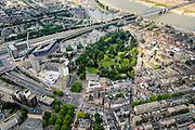 Nederland, Gelderland, Nijmegen, 26-06-2013; binnenstad Nijmegen, met Kronenburgerpark. Rechts de Waal.<br /> Town of Nijmegen. Bank of river Waal.<br /> luchtfoto (toeslag op standaard tarieven);<br /> aerial photo (additional fee required);<br /> copyright foto/photo Siebe Swart.